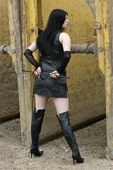 Anna-Lena 17 (The Booted Cat) Tags: sexy black hair model gothic girl leather miniskirt crop whip overkneeboots overknee buffalo mistress