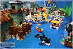 Bricksburg: Preview Autumn 2017 (EVWEB) Tags: lego old fishing store city diorama town marina marine harbor harbour seaport sea beach lighthouse orca yacht ship 21310