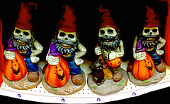 Garden Gnomes Looking for Treats (byzantiumbooks) Tags: werehere hereios trickortreat skeletons
