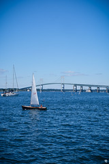 Claiborne Pell Newport Bridge (seen from Goat Island) (Andrea Tallone) Tags: usa america travel traveling travels fujifilm xe1 fuji xmount lens colors summer murica unitedstates northeast northeastern newengland boston massachusetts bostonia maine rhodeisland newhampshire north