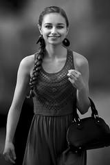 Cute Girl Crossing Street (Jim-Mooney) Tags: bw black white blackwhite blackandwhite mono monochrome monotone streetphotography portrait people kansascity candid first friday fuji xt2 fujinon50140mm crossroads