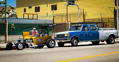 Two Fords in San Pedro (49er Badger) Tags: ford modelt streetrod crewcab