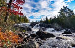 Sand River upper rapids red maple (The Intertitler) Tags: northofsuperior canadiana waterfall rapids autumncolours latesummer sandriver northernontario lakesuperiorprovincialpark