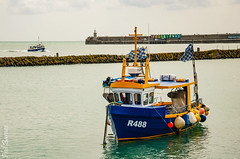 R488 in Folkestone Harbour with the Rowena returning in the background. (philbarnes4) Tags: fishingboat vessel folkestone kent england philbarnes dslr nikond80 water sea harbourarm
