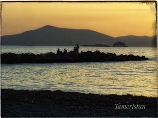 Sunset fishermen in Turgutreis.