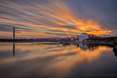 Tidal Basin LE 080617 (D. Scott McLeod) Tags: tidalbasin jeffersonmemorial washingtonmonument dawn longexposure colorfulsky reflections draggingclouds washingtondc dc dscottmcleod scottmcleod