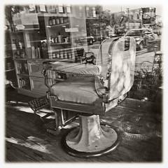 Shop Window #15 2017; Salon (hamsiksa) Tags: hair salon barbershop barber interior exterior reflections glass inside outside layers downtown mainstreet blackwhite time simultaneity storefronts shopwindows