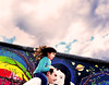 Berlin (kirstiecat) Tags: berlin berlinwall eastsidegallery germany child kid daughter flare surreal dream parent father mural art graffiti magicalrealism saturation colours colors life moment experience street canon cinematic