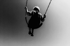 Learning to fly (zzra) Tags: swingblackwhitegrainkidnoir