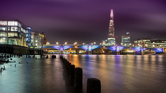 The Shard Experience (Bernhard Sitzwohl) Tags: london thames river southwarkbridge pier jetty remains old night longexposure outdoor city cityscape citylights nocturnal exploration nacht fluss themse bürogebäude stadt brücke