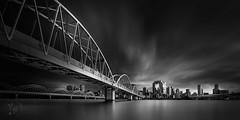 TLC part10: Back to the Central (YOSHIHIKO WADA) Tags: blackandwhite longexposure bridge japan osaka panorama architecture fineart river cityscape building clouds