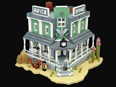 Brick Bank (Disco86) Tags: lego moc modular western wild west brick bank cowboy cactus sand green