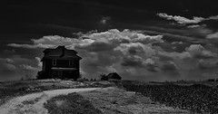 trapped in the darkness.... (BillsExplorations) Tags: path road darkness dark abandoned abandonedillinois abandonedhouse abandonedfarm deadend clouds sky farm ruraldecay forgotten decay shuttered discarded neglect blackandwhite monochrome oncewashome field monochromemonday