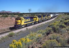 Cresting the Continental Divide (jamesbelmont) Tags: atsf santafe gonzales newmexico continentaldivide railway locomotive ge b408 emd gp60 transcon