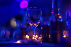 Dreaming of you (PeterThoeny) Tags: landquart graubünden graubunden grisons glass wineglass table decoration tabledecoration dark light led ledlight wedding weddingparty party blue bokeh blur sony sonya7 a7 a7ii a7mii alpha7mii ilce7m2 vintagelens dreamlens canon50mmf095 f095 canon 1xp raw photomatix hdr qualityhdr qualityhdrphotography fav100