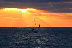 Sailing at sunset - Tel-Aviv beach (Lior. L) Tags: sailingatsunsettelavivbeach sailing sunset telaviv beach sailboat sail sailboats sea seascapes israel travel travelinisrael rays raysofsunshine raysofgod silhouettes clouds cloudysunset