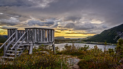 The observation deck atop the mountain (Brett of Binnshire) Tags: shoreline sunset bay mountains highdynamicrange larkharbor clouds hdr lrhdr canada manipulations scenic lightroomhdr ocean newfoundland locationrecorded weather water mountain