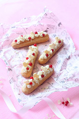 Vanilla Eclairs (Мiuda) Tags: eclairs éclairs vanilla sweet sweets choux pastry rose pink baking bake baked bakery confectioner confectionery patisserie patissier food dessert delicious sugar cream creamy creamcheese cheese red currant currants redcurrant redcurrants summer berry berries seasonal café white chocolate hearts decoration icing tasty yummy french paris homemade professional pastel pretty dreamy clean foodphotographer foodphotography foodphoto foodblogger blogger blog foodblog