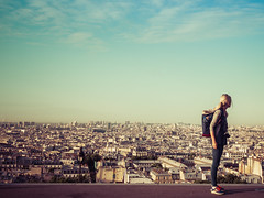 Over the rooftops of Paris... (davYd&s4rah) Tags: montmartre paris rooftop travel city sky panorama hausdächer olympus 1240mm omd m10 mark ii blue view sacre coeur hill backpack rucksack kamera citywalk spaziergang reise stadt städtetrip frankreich france