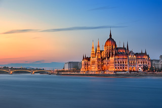 Budapest Parliament and Danube River Embankment in the Evening, Budapest, Hungary