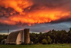 Before the Storm (Justin Loyd Photography) Tags: clouds sky barn barnyard farm beautiful iowa midwest summer august today evening vivid old photography canon6d 24105l mammatus pink orange colorful ngc