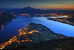Dusk over Lucerne (hapulcu) Tags: rigikaltbad lakeoffourcantons alpen alpes alpi alps luzern rigi schweiz suisse suiza svizzera swiss switzerland vierwaldstättersee alpine lake spring