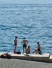 Sunny day in Oslo, Norway (JasChamPhoto) Tags: norwegian beach bathers swimmers sunny waterfront swimsuit men barechested shirtless norway oslo candid man male guy dude