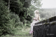 my little dreamer ❤️❤️❤️ (D.Sinkute) Tags: dreamer daughter girl norge norway beautiful nature summer hair dress sitting edge trees green woods sky photosession