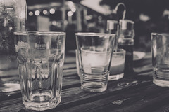 Dinner at eight (mripp) Tags: art kunst vintage retro old food eating restaurant going out gaststätte drink drinking glasses glosser table dinner lunch black white mono monochrom schwarz weiss sony rx1rii