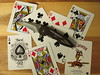 Bee Blue (CapCase) Tags: knife pocketknife cutlery cards playingcards ace aceofspades queenofhearts bee joker buck rush