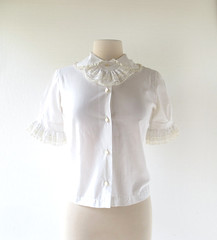 1960s Lady Dandy white blouse with removable ascot and lace, from Nahas of Texas (Small Earth Vintage) Tags: smallearthvintage vintagefashion vintageclothing blouse 1960s 60s white ascot lace nahasoftexas