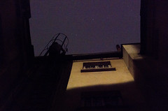 Day 225 - Starboy (cframezelle) Tags: paris daytoday night people star vertical silhouette shadow personne rue upside reverse city ville ciel sky etoiles blue yellow wall stairs window boy urban dark history histoire 365