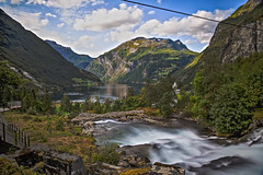 Fossevandring Waterfall And Geirangerfjord (wheelcorner) Tags: fossevandring water waterfall stream geiranger norway norwegen norge sky clouds mountains canon 5d 5d2 5dmk2 24105 longexposure holiday roadtrip camping
