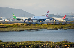 east meets west (pbo31) Tags: bayarea california nikon d810 color august summer 2017 boury pbo31 northerncalifornia sanfranciscointernational sfo airport sanmateocounty sunset travel airline aviation plane flight bay millbrae taxi runway airbus a380 britishairways arrival ba 777 boeing departure turkish eva takeoff motionblur rotation