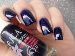 Drica - Oceano + Passe Nati - Chuva de Prata (Barbara Nichols (Babi)) Tags: drica oceano azul blue bluenailpolish bluenails passenati chuvadeprata glitter esmalteazul nails nailpolish