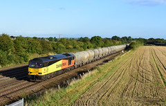 60002 6L44 Oxwellmains (Dunbar) to WEst Thurrock at Cossington  12-09-2017 (Iain Wright Photography) Tags: 60002 6l44 oxwellmains dunbar west thurrock cossington rotherby crossing 12092017 colas rail freight class60 tug doughnut 60 002 cement tarmac pcas scotland england essex leicestershire