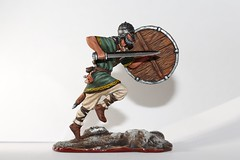 Running viking (Geraki-ru) Tags: macro toy figure actionfigures soldier viking run objects history medieval lightarmour snow white