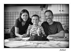 7 years old (Artico7) Tags: 7 seven years birthdat anniversary cake family portrait happy son bw blackwhite blackandwhite biancoeenero monochrome fuji xe1 time candle