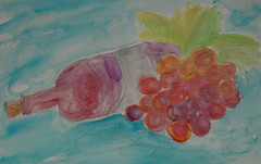 A Little Wine on the Side (BKHagar *Kim*) Tags: bkhagar painting paint watercolor watercolour wine bottle grapes stilllife