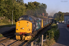 37716 departs Brundall working 2C35 1847 Great Yarmouth - Norwich, extra turn on Saturday vice DMU 2/9/2017 (Paul-Green) Tags: class 37 377 37716 37405 brundall station september 2017 uk gb railways evening last sun gt great ayrmouth norwich passenger service flickr canon camera norfolk track coaches diesel engine loco locomotive drs direct rail services aga abellio greater anglia outdoors nice light boat yard trees 2c35 1847
