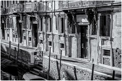 Seul à Venise !!! (bertranddorel) Tags: venise homme human seul noiretblanc bw blackandwhite rue street streetphoto bateau piéton cady