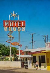 BIG STAR MOTEL (akahawkeyefan) Tags: sign classic motel big star fresno woman smoking walking davemeyer seedy