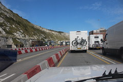 Waiting for border control (Davydutchy) Tags: dover kent england greatbritain uk vk port ferry terminal harbour harbor haven hafen veerboot veerpont fähre white cliff border control grens frontière douane customs zoll queue waiting line barrier august 2017