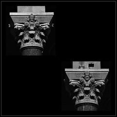 12 - Tours, Basilique Saint-Martin, Chapiteaux (melina1965) Tags: juillet july 2007 centrevaldeloire indreetloire tours nikon d80 mosaïque mosaïques mosaic mosaics collages collage noiretblanc blackandwhite bw église églises church churches sculpture sculptures