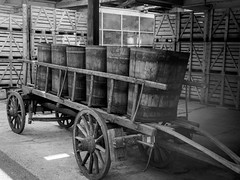 Wine barrels (Torstein Hansen) Tags: wagon winebarrel blackandwhite antique monochrome old ribeauville grandest france fr