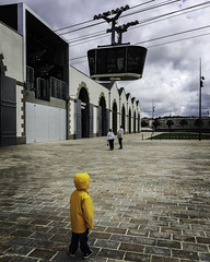 I want to go in (Christian Wilt) Tags: child brest brittany france cablecar yellow transport lapenfeld harbor admiration téléphérique
