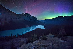 'Bonus Aurora' - Peyto Lake, Banff (Gavin Hardcastle - Fototripper) Tags: aurora borealis northern lights peyto lake banff national park nightscapes astrophotography canada canadian rockies mountains gavinhardcastle fototripper