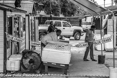 Blue Crabs, Shrimp, Conch, Clams... (Ann Jaber Photography) Tags: working selling bluecrabs shrimp conch clams bw people everyday southcarolina beaufort lowcountry coolers seafood buying roadside blue crab food shopping timegoesby summer south carolina sign vendor fan