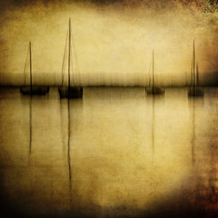 as the sun goes down . . . (YvonneRaulston) Tags: surreal australia nsw atmospheric moody sony gold abstract art fineartgrunge creativeartphotography photoshopartistry water sailboats sailing boat boats dusk sun lake lakemacquarie