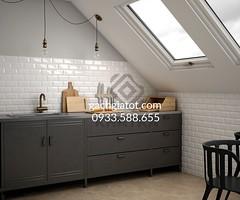 Bếp sử dụng gạch thẻ trắng 7.5x15cm và lục giác vàng
